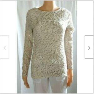 Jennifer Lopez ivory nubby fitted sweater size S